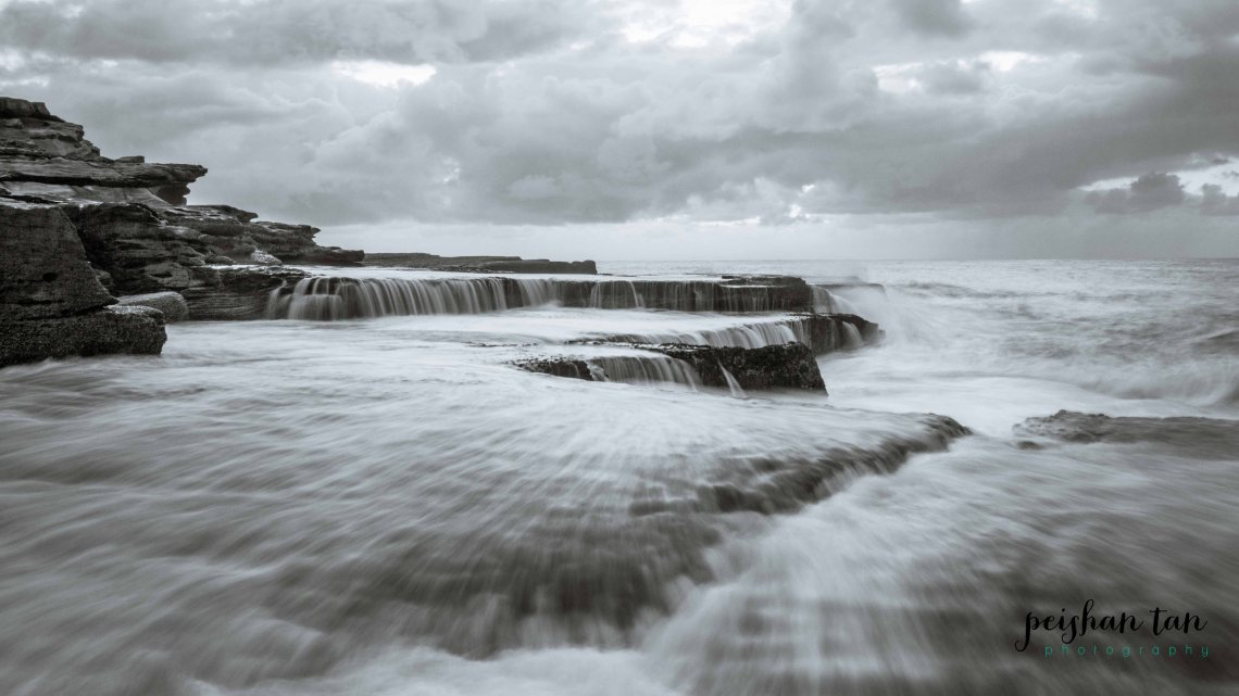 April 2015 Mahon Pool Sunrise BW