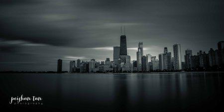 chicago skyline b&w