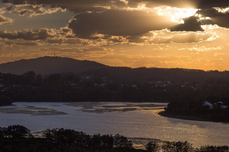 sunset over wamberal lagoon