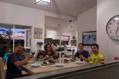 family dinner - forresters beach airbnb