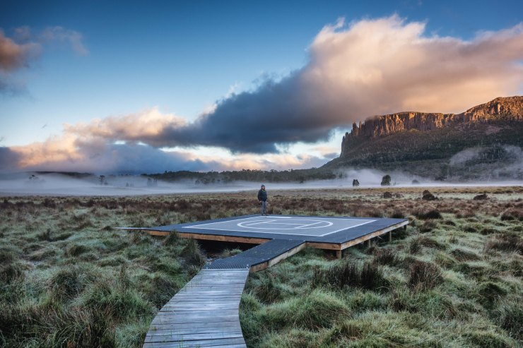 Sunrise on the helipad at New Pelion Hut - Overland Track (photo credit: Jeff F)