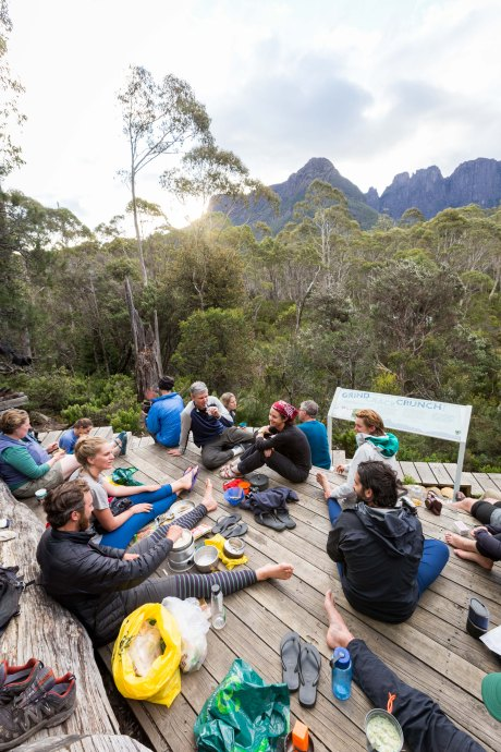 Our fellow hikers chilling out on the viewing platform at Bert Nichols Hut, waiting for the sunset over the Acropolis