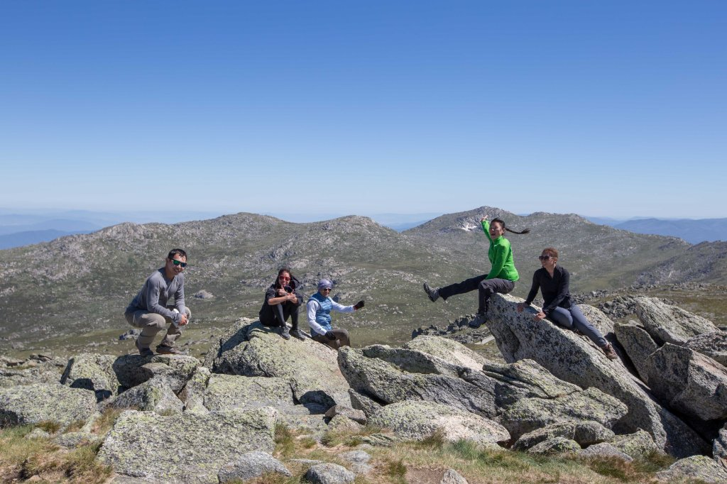 Crazy winds on the summit of Mt Kosciuszko - just look at Rose's pigtail!