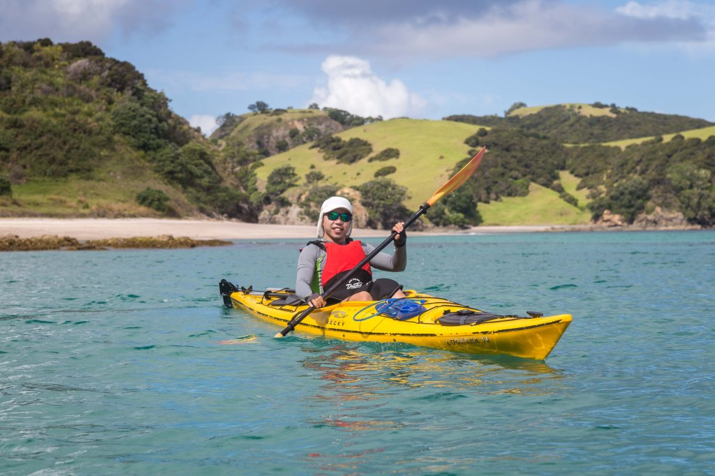 Paddling off Waewaetorea Island, Bay of Islands New Zealand