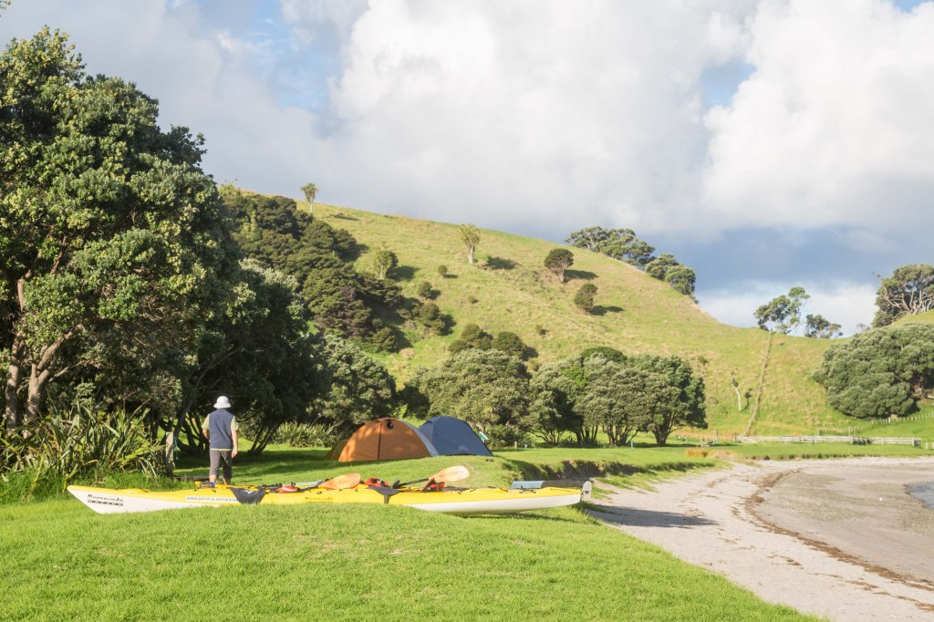 Setting up camp on Urupukapuka Island