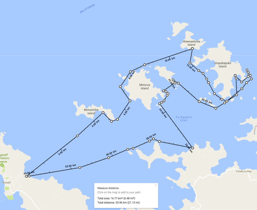 Our kayak route around the Bay of Islands