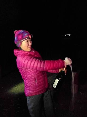 Cremant wine opening - camping at Warrumbungle National Park
