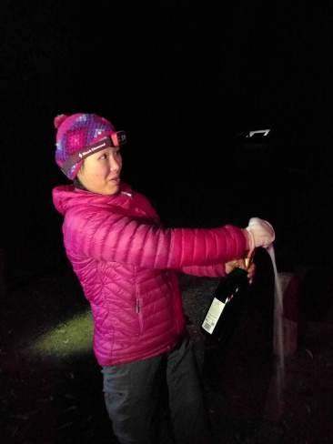 Cremant wine opening - camping at Warrumbungle National Park