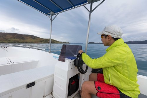 Driving a dinghy around Hamilton Island