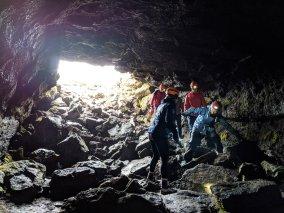 Exploring lava tube - Iceland